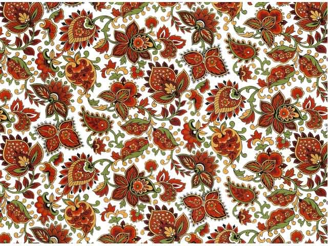 Red Paisley Chintz 200 mm x 200 mm
