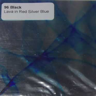 96 Red Silver Blue Lava on Black