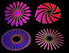 Dichroic Pinwheel Designs - Small - 15 mm x 15 mm - Pack of 20