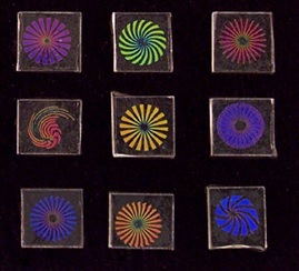"96 Dichroic Pinwheel Designs 3/4"" pack of 10"