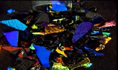Dichroic Frit - Rainbow 1 on Black - 1oz