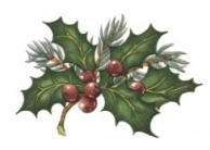 Traditional Holly Small 42 mm x 36 mm - Set of 3