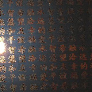 Chinese Characters in Copper on Black
