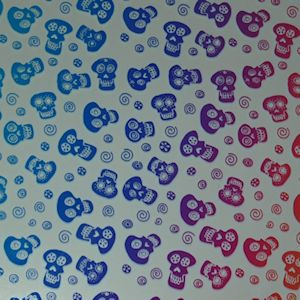 Sugar Skulls in Rainbow 2 on Clear