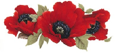 Red Poppy Spray - 70mm x 32 mm - Set of 4