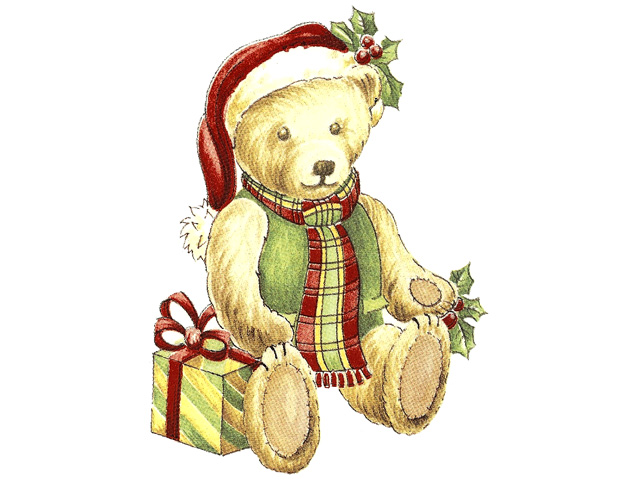Christmas Teddy 50mm - Set of 4