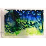 142LL Blue Green Clear Streaky Dalle De Verre