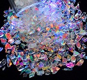 Dichroic Frit Flakes - Rainbow on Clear - 1 oz Tube