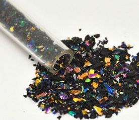 Dichroic Frit Flakes - Rainbow on Black - 1 oz (30g) Tube