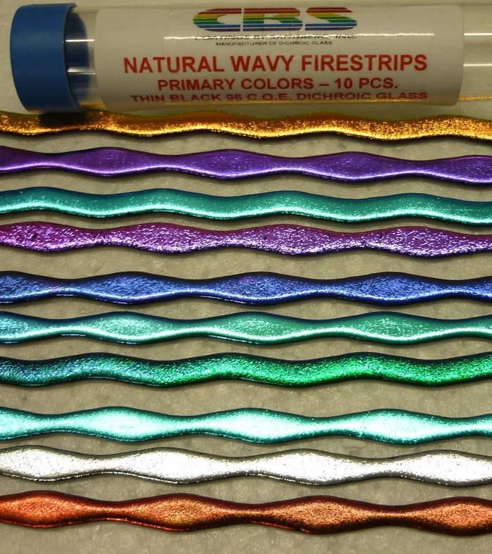 Dichroic FireStrips - Natural Wavy - Primary Colours - 10 Pack
