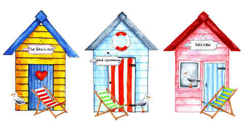 Beach Huts - Small - 50 mm - Set of 3