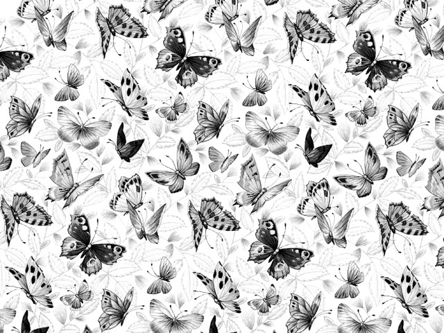 Black Butterfly Chintz 200 mm x 200 mm
