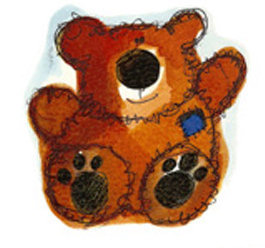 Teddy With Blue Patch - Small - 45 mm - Set of 3