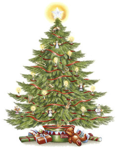 Christmas Tree - Large - 70 mm x 53 mm - Set of 2
